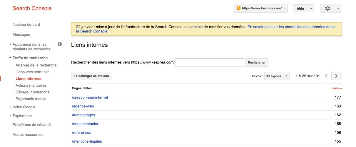 Liens internes Search Console