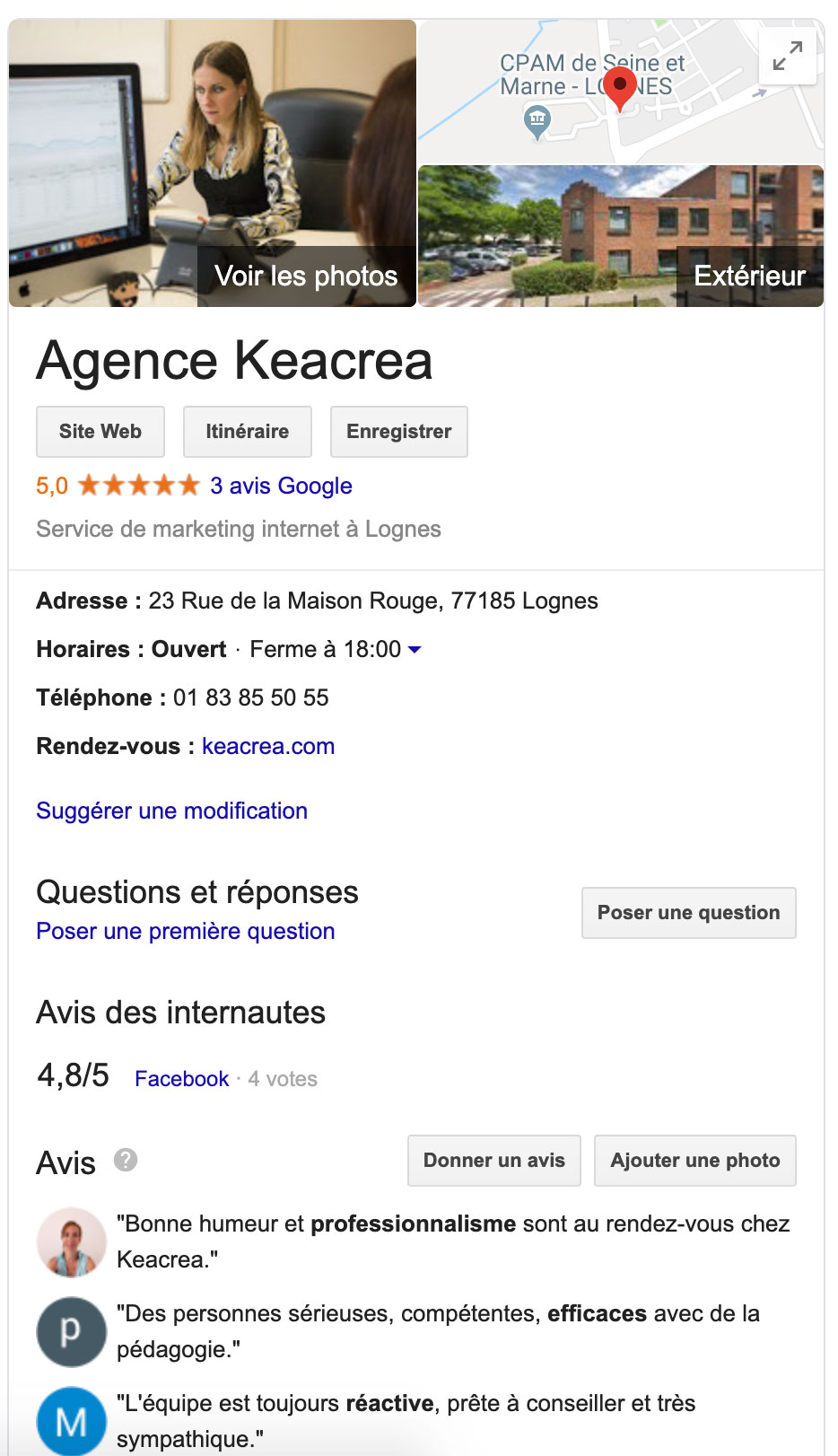 Exemple Fiche Google MyBusiness