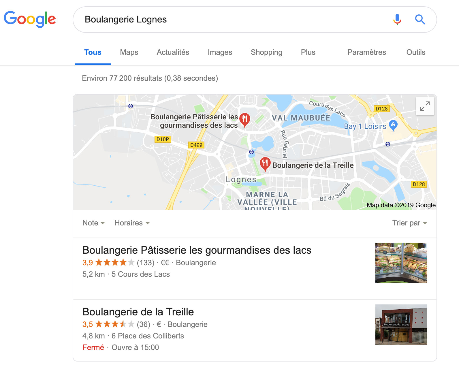 Exemple résultat SEO local